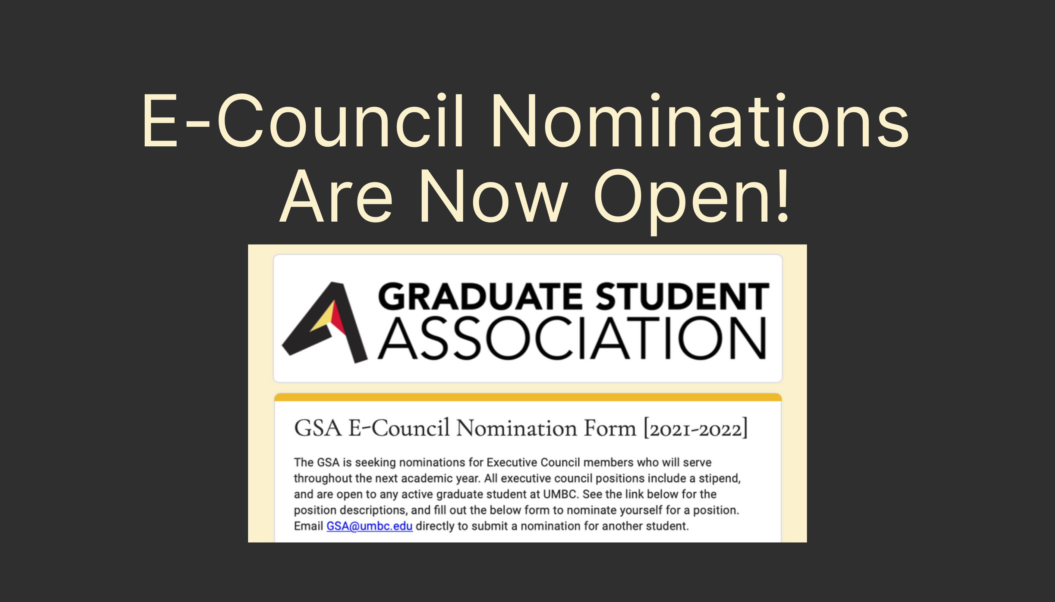 E-Council Nominations for 2021-2022 Now Open!